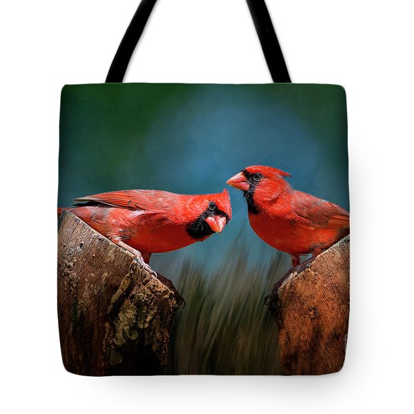 Tote Bag featuring the photograph Redbird Sentinels by Bonnie Barry