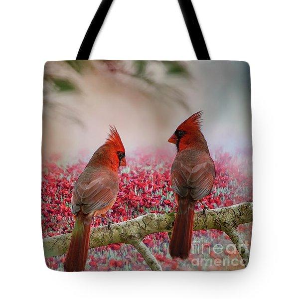 Redbirds At Dusk Tote Bag