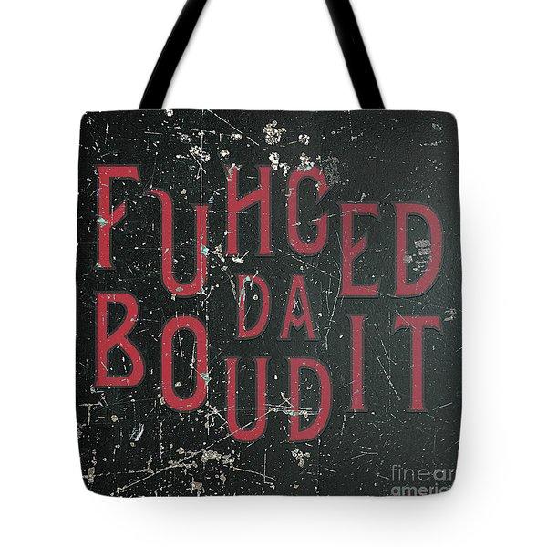 Tote Bag featuring the digital art Redblack Fuhgeddaboudit by Megan Dirsa-DuBois