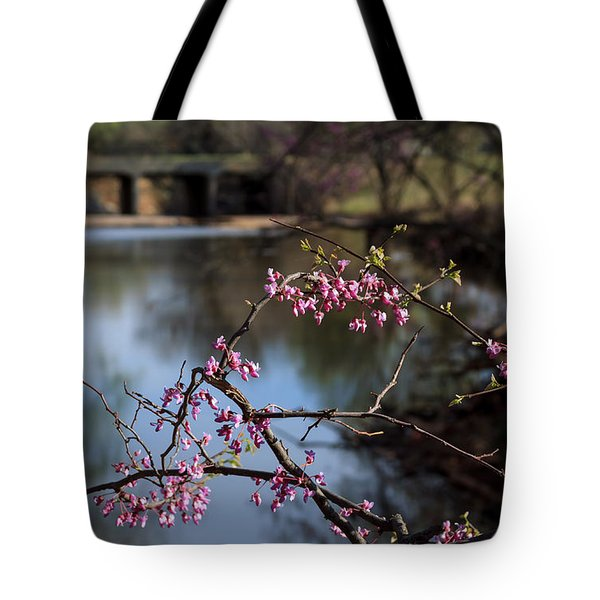 Redbuds And An Old Bridge Tote Bag