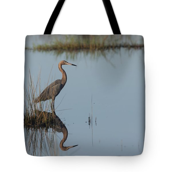 Reddish Egret And Reflection In The Morning Light Tote Bag