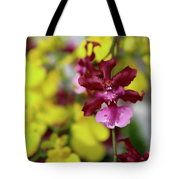 Maroon And Yellow Orchid Tote Bag