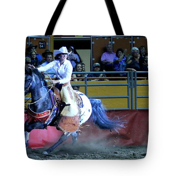 Tote Bag featuring the photograph Rodeo Queen At The Grand National Rodeo by John King