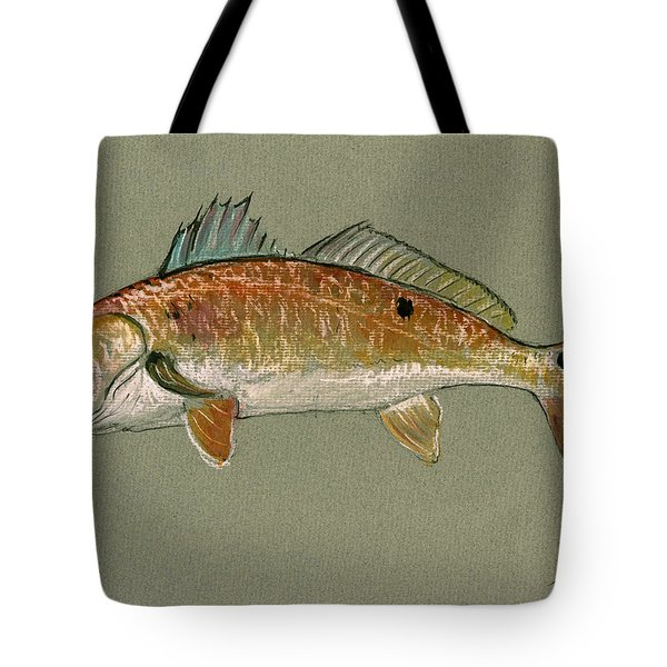 Redfish Watercolor Painting Tote Bag by Juan  Bosco