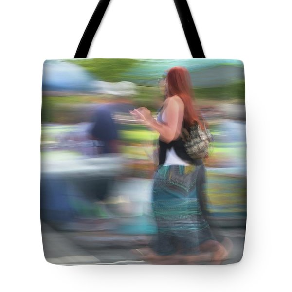 Tote Bag featuring the photograph Redhead, Blue Green Skirt by Dutch Bieber
