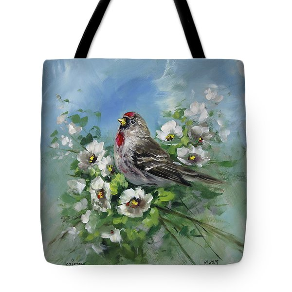 Redpole And Blossoms Tote Bag by David Jansen