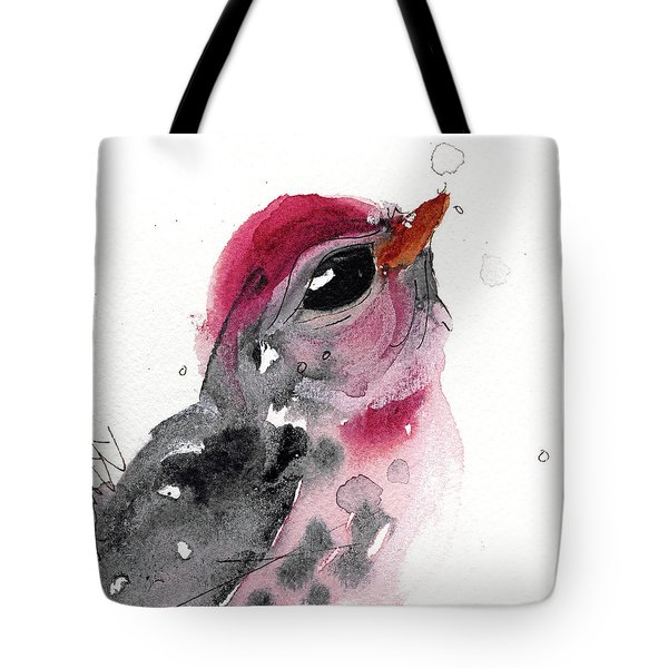 Tote Bag featuring the painting Redpole by Dawn Derman