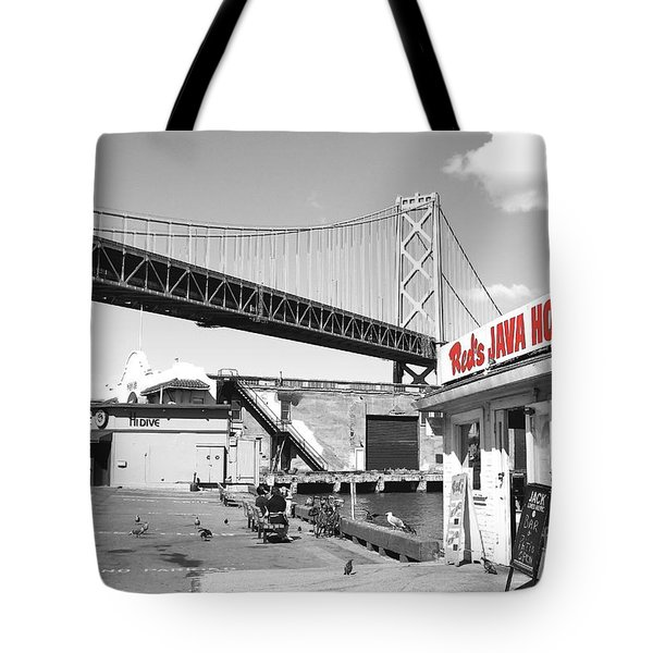 Reds Java House And The Bay Bridge In San Francisco Embarcadero . Black And White And Red Tote Bag
