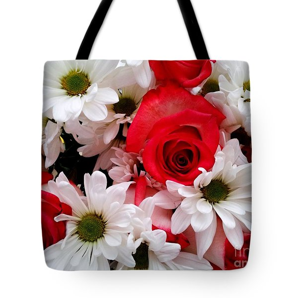 Red,white, Roses And Daisies Bouquet Tote Bag by Margaret Newcomb