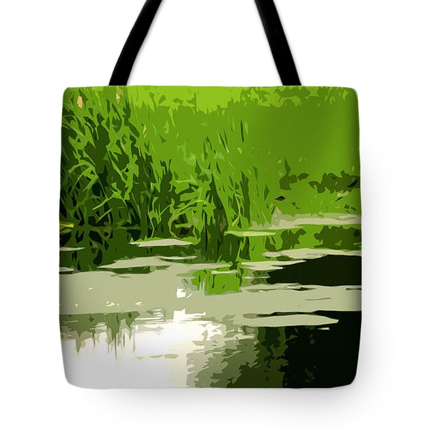 Reeds At The  Pond Tote Bag by Spyder Webb