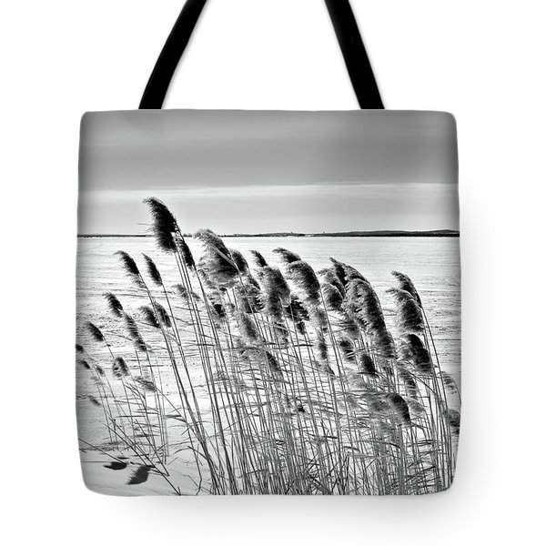 Reeds On A Frozen Lake Tote Bag