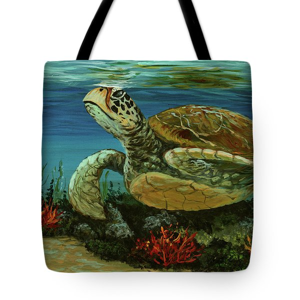 Tote Bag featuring the painting Reef Honu by Darice Machel McGuire