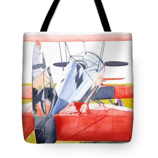 Reflection On Biplane Tote Bag