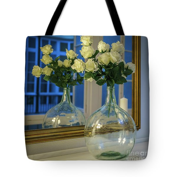 Tote Bag featuring the photograph Reflected Demijohn Cadiz Spain by Pablo Avanzini
