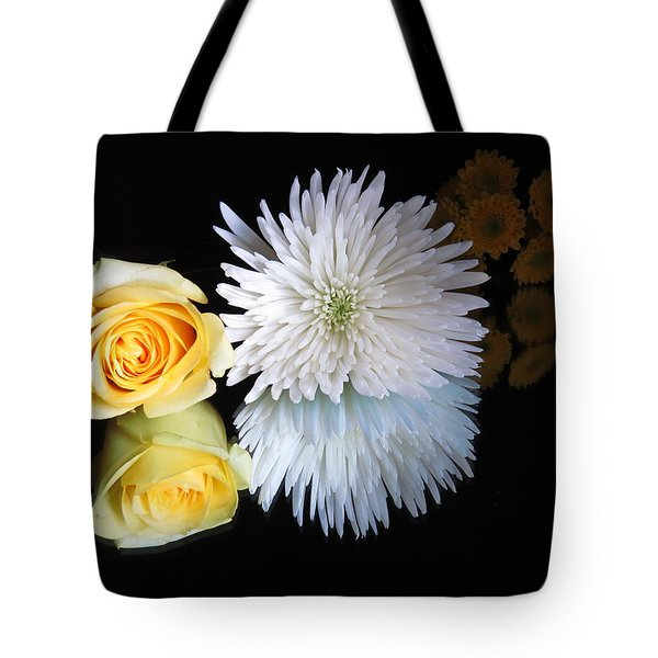 Tote Bag featuring the digital art reflected Flowers by Kathleen Illes