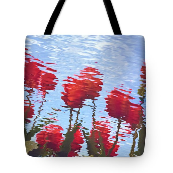 Tote Bag featuring the photograph Reflected Tulips by Tom Vaughan