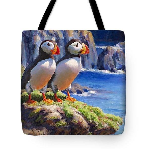 Horned Puffin Painting - Coastal Decor - Alaska Wall Art - Ocean Birds - Shorebirds Tote Bag