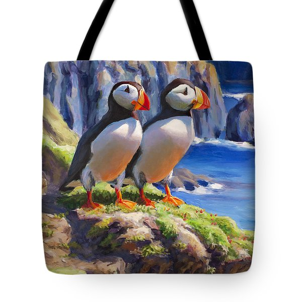 Tote Bag featuring the painting Reflecting - Horned Puffins - Coastal Alaska Landscape by Karen Whitworth