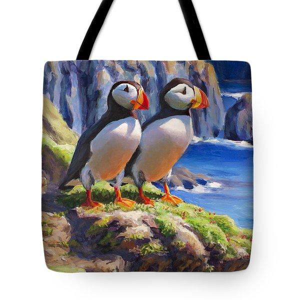Horned Puffins - Coastal Decor - Alaska Landscape - Ocean Birds - Shorebirds Tote Bag