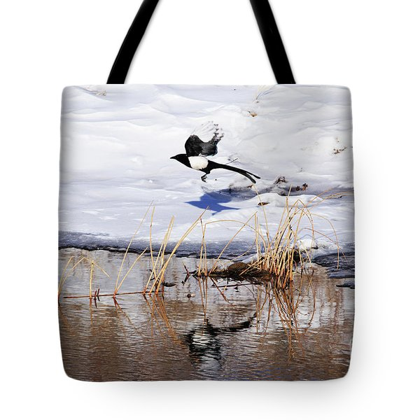 Reflecting Magpie Tote Bag