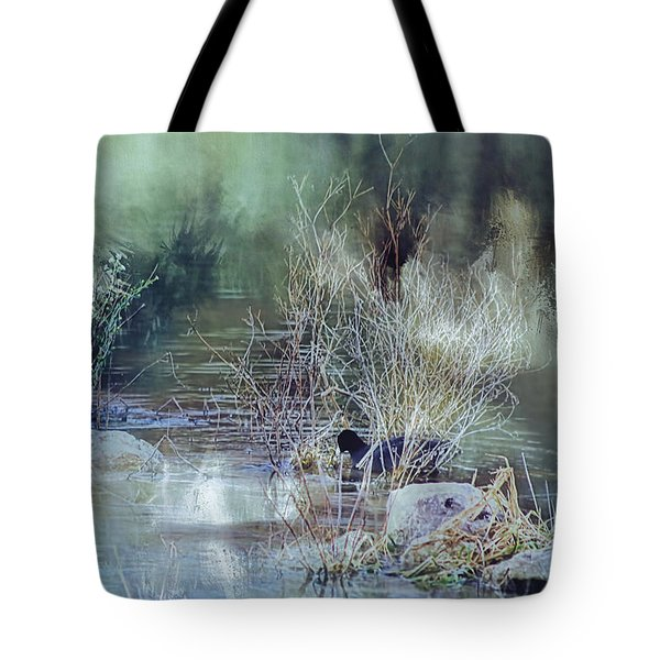 Reflecting On A Misty Morning Tote Bag