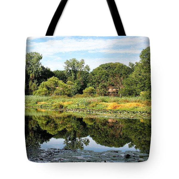 Tote Bag featuring the photograph Reflecting On A Summer Morning by William Selander