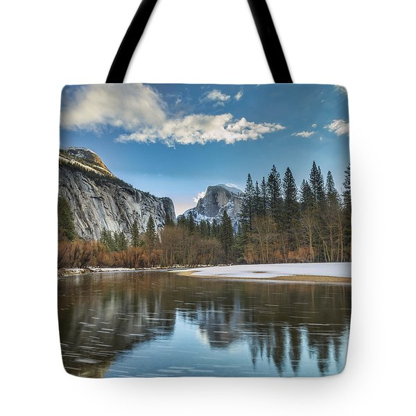 Reflecting On Half Dome Tote Bag