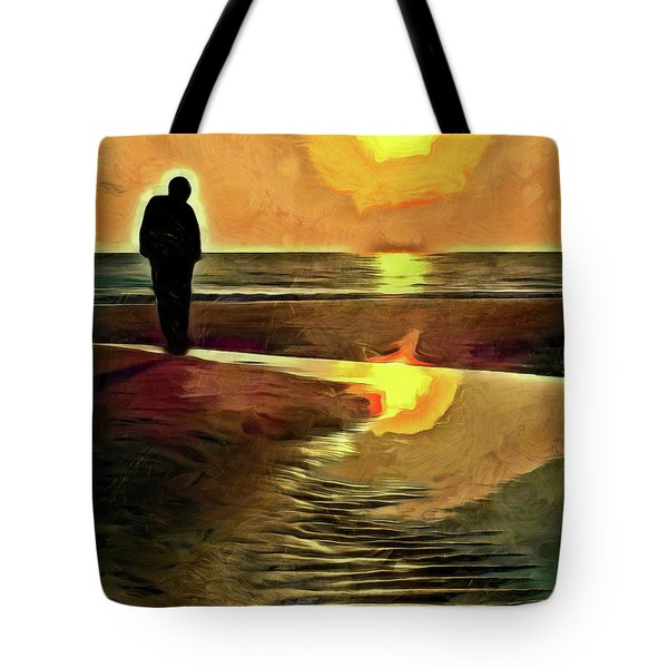 Tote Bag featuring the mixed media Reflecting On The Day by Trish Tritz