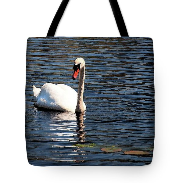 Tote Bag featuring the digital art Reflecting Swan by Wayne Marshall Chase