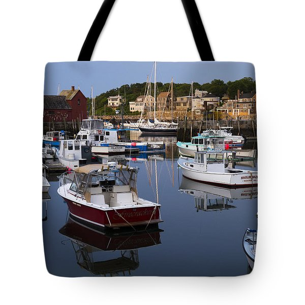 Reflection At Rockport Harbor Tote Bag