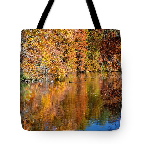 Reflected Fall Foliage Tote Bag by Allan Levin