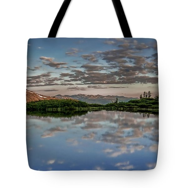 Tote Bag featuring the photograph Reflection In A Mountain Pond by Don Schwartz