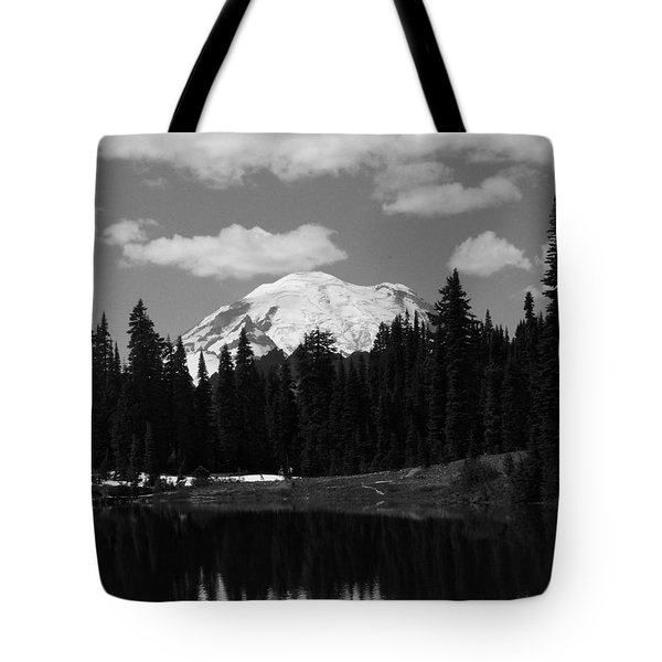 Mt. Rainier Reflection In Black And White Tote Bag