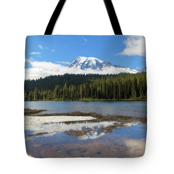 Reflection Lakes In Mount Rainier National Park Tote Bag
