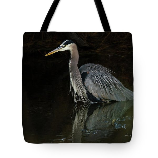 Reflection Of A Heron Tote Bag by George Randy Bass