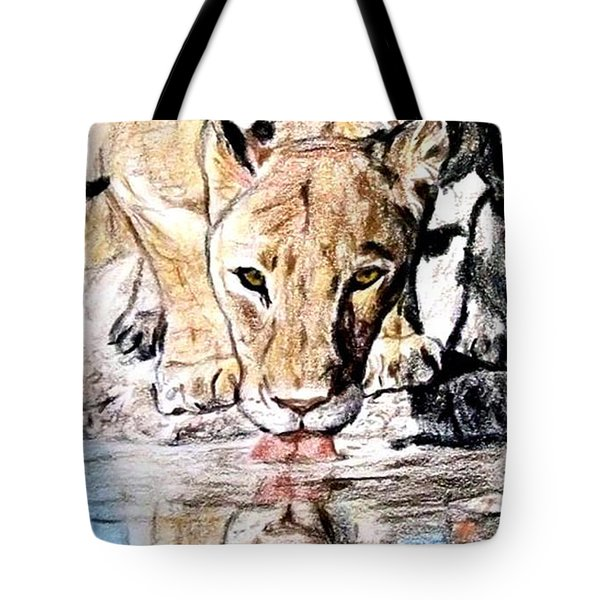 Tote Bag featuring the drawing Reflection Of A Lioness Drinking From A Watering Hole by Jim Fitzpatrick