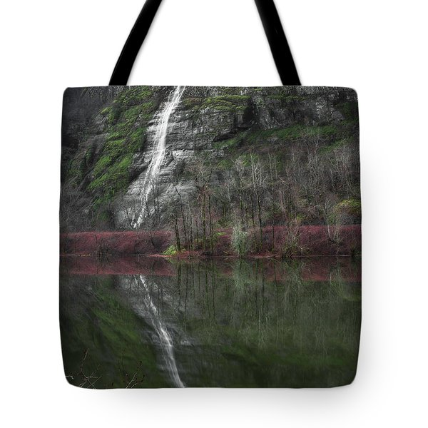 Reflection Of A Waterfall Tote Bag