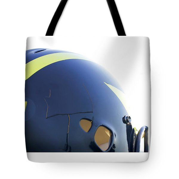 Reflection Of Goal Post In Wolverine Helmet Tote Bag