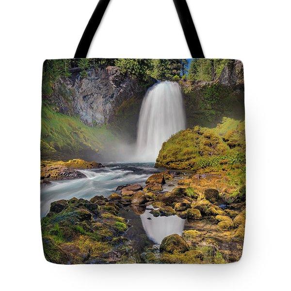 Reflection Of Sahalie Falls Tote Bag by David Gn