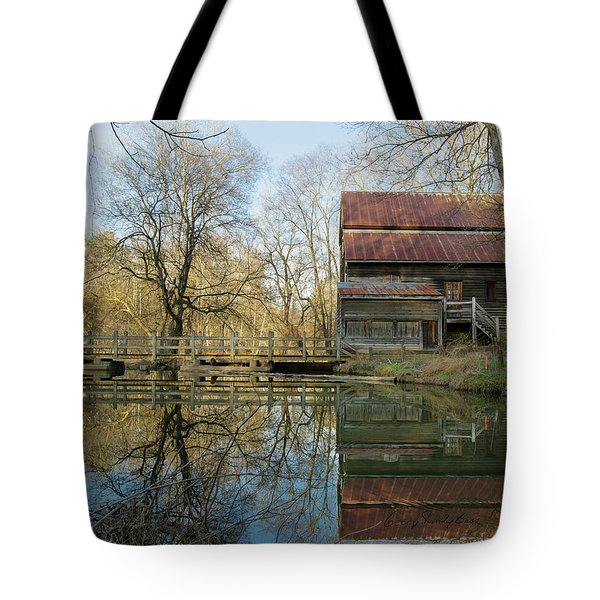 Reflection On A Grist Mill Tote Bag by George Randy Bass