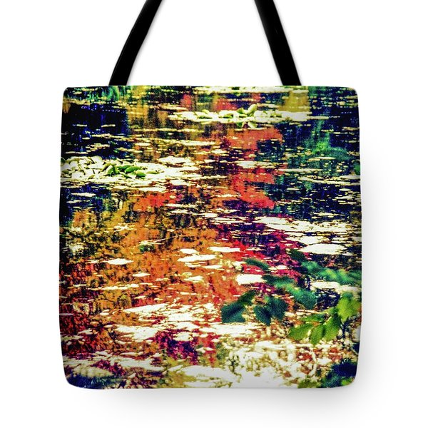 Reflection On Oscar - Claude Monet's  Garden Pond  Tote Bag