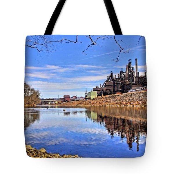 Reflection On The Lehigh - Bethlehem Pa Tote Bag