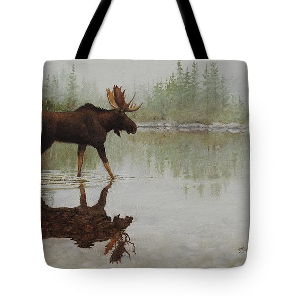 Tote Bag featuring the painting Reflection On The Rocks by Tammy Taylor