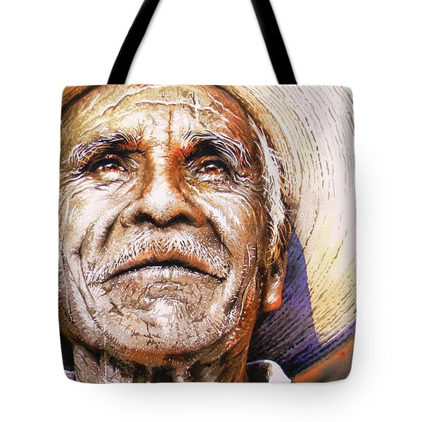 Tote Bag featuring the painting Reflections About Earth, Bronze And Sun by J- J- Espinoza