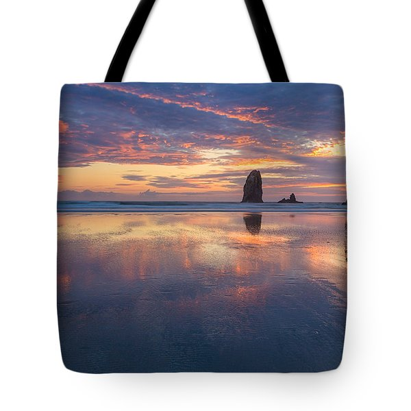 Reflections At Cannon Beach Tote Bag