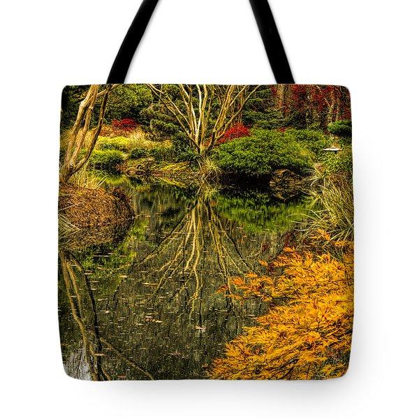 Reflections At Japanese Gardens Tote Bag by Barbara Bowen