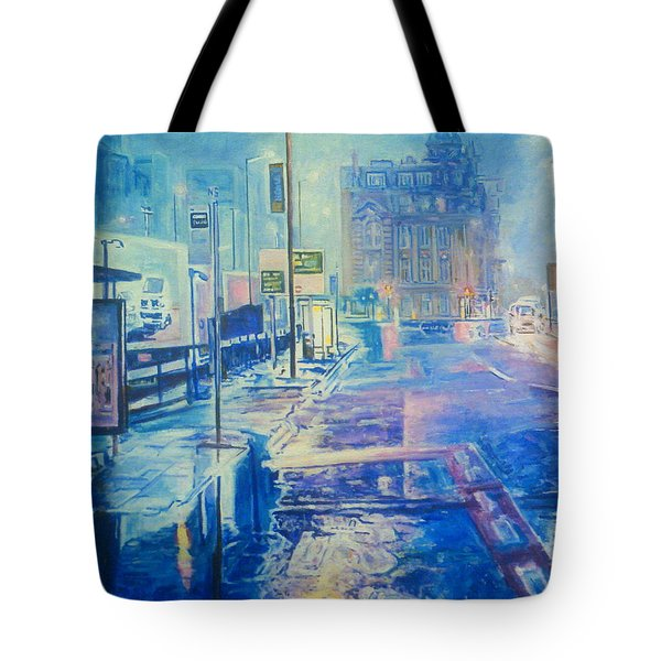 Reflections At Night In Manchester Tote Bag