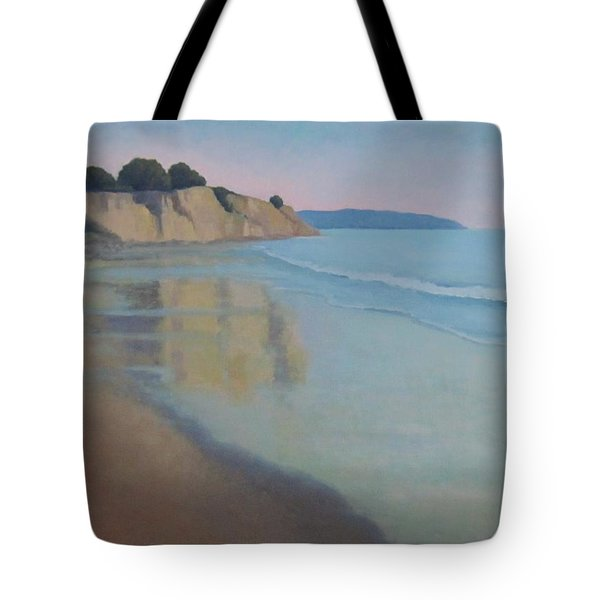 Tote Bag featuring the painting Reflections At Summerland Beach Series 3 by Jennifer Boswell