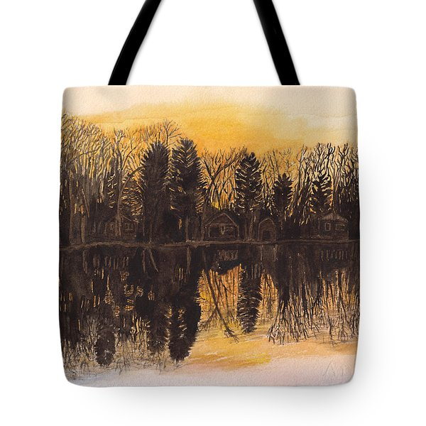 Reflections At Sunset On Bitely Lake Tote Bag