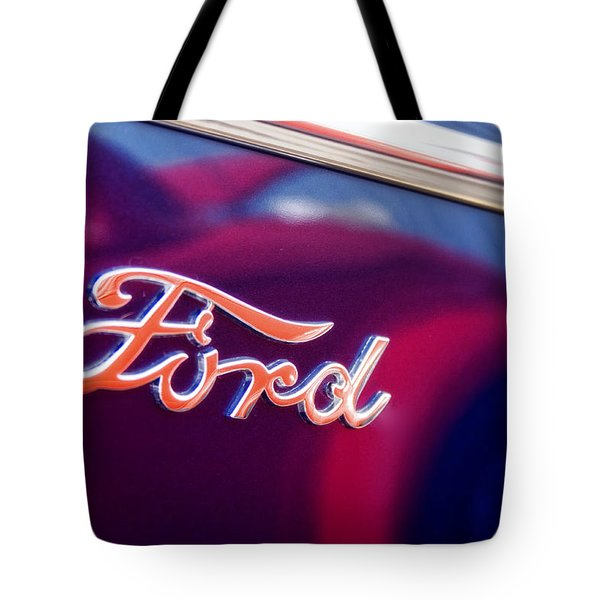 Reflections In An Old Ford Automobile Tote Bag by Carol Leigh